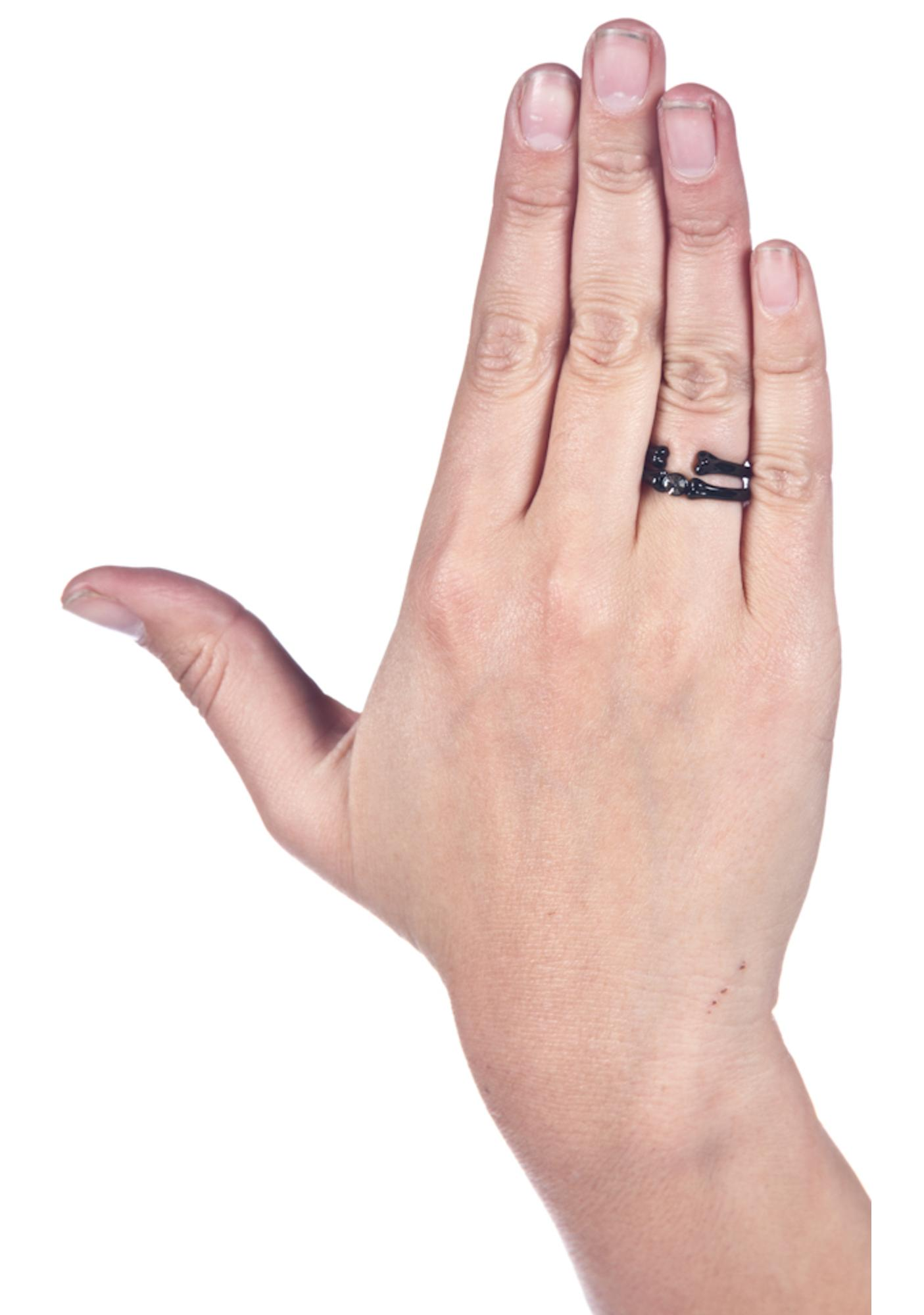 Wildfox Couture Black Hematite Bone Ring Set