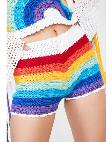 Rainbow Sunshine Crochet Shorts