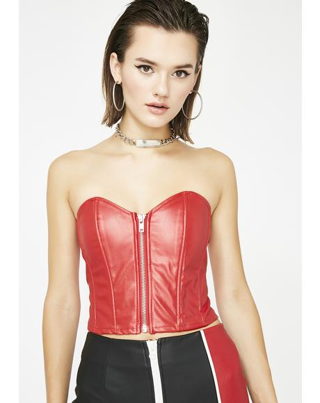 Hot Tip Vegan Leather Corset