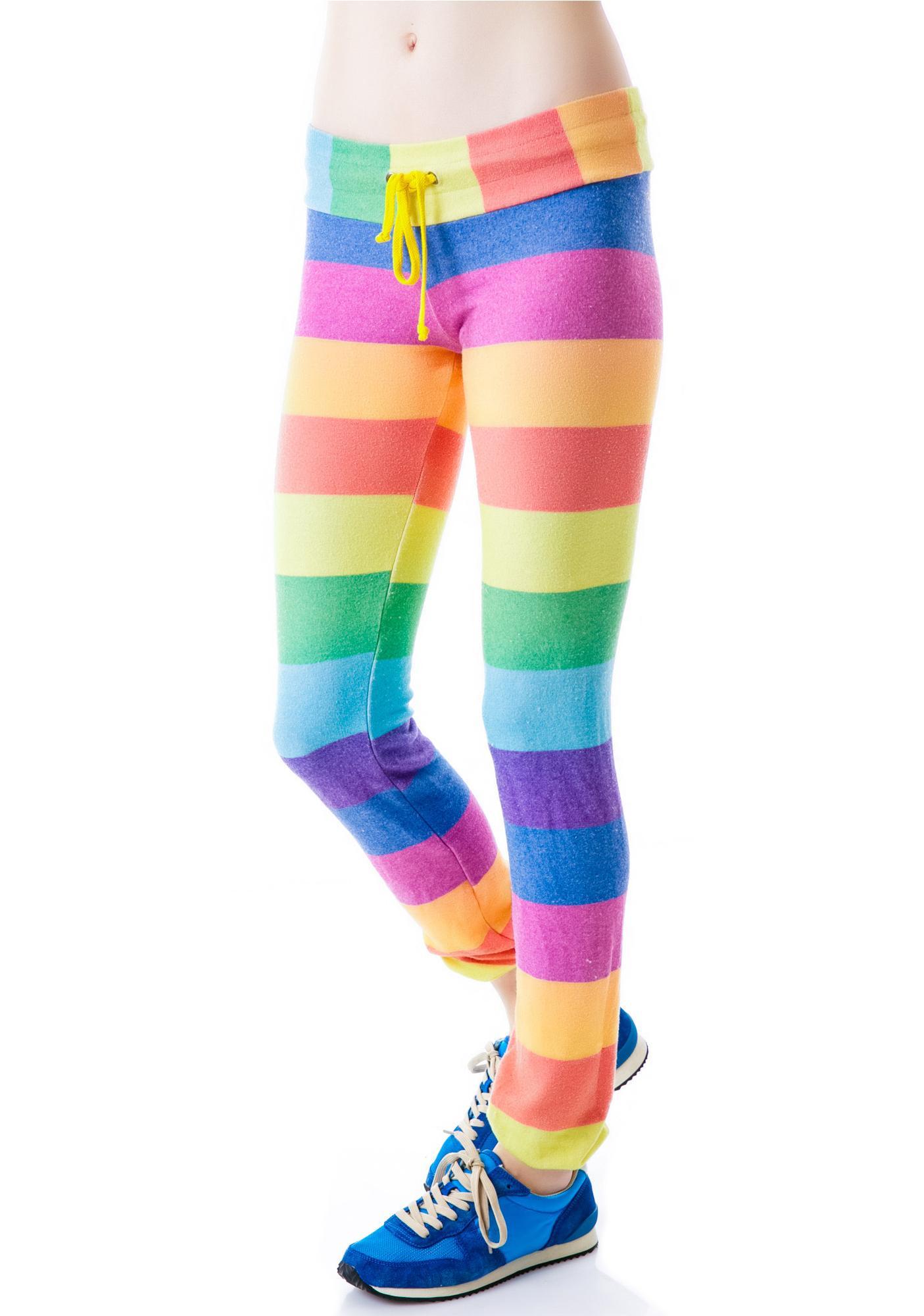 Wildfox Couture 70's Rainbow Malibu Skinny Sweats