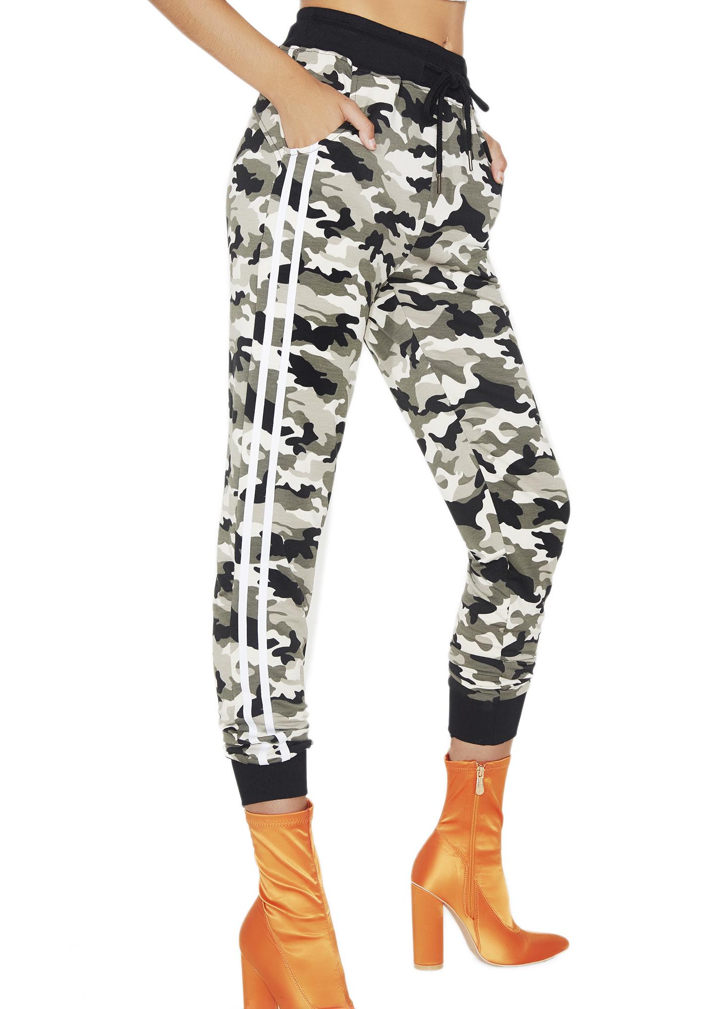 Camo Print Striped Sweatpants