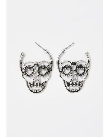 Giving Me Heart Eyes Skull Earrings