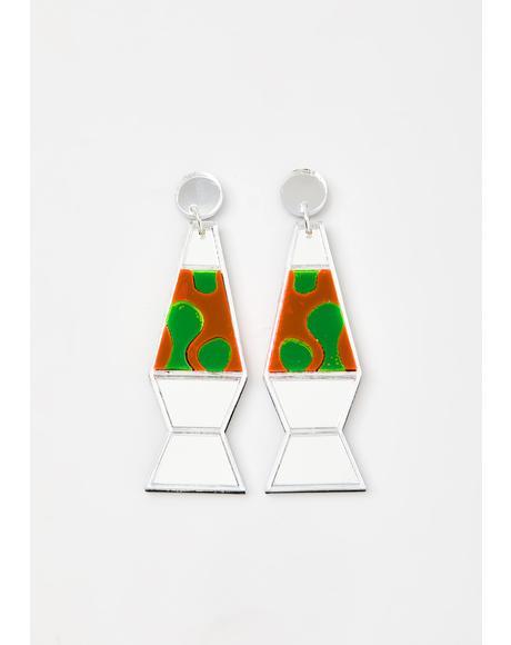 Silver Mirror Lava Lamp Earrings