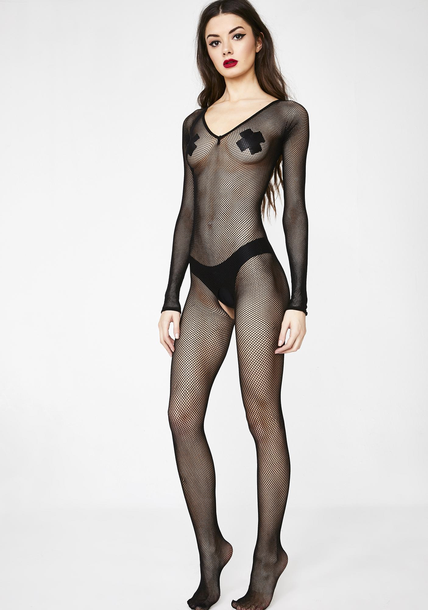 72dafd4bbe Black Fishnet Crotchless Bodystocking