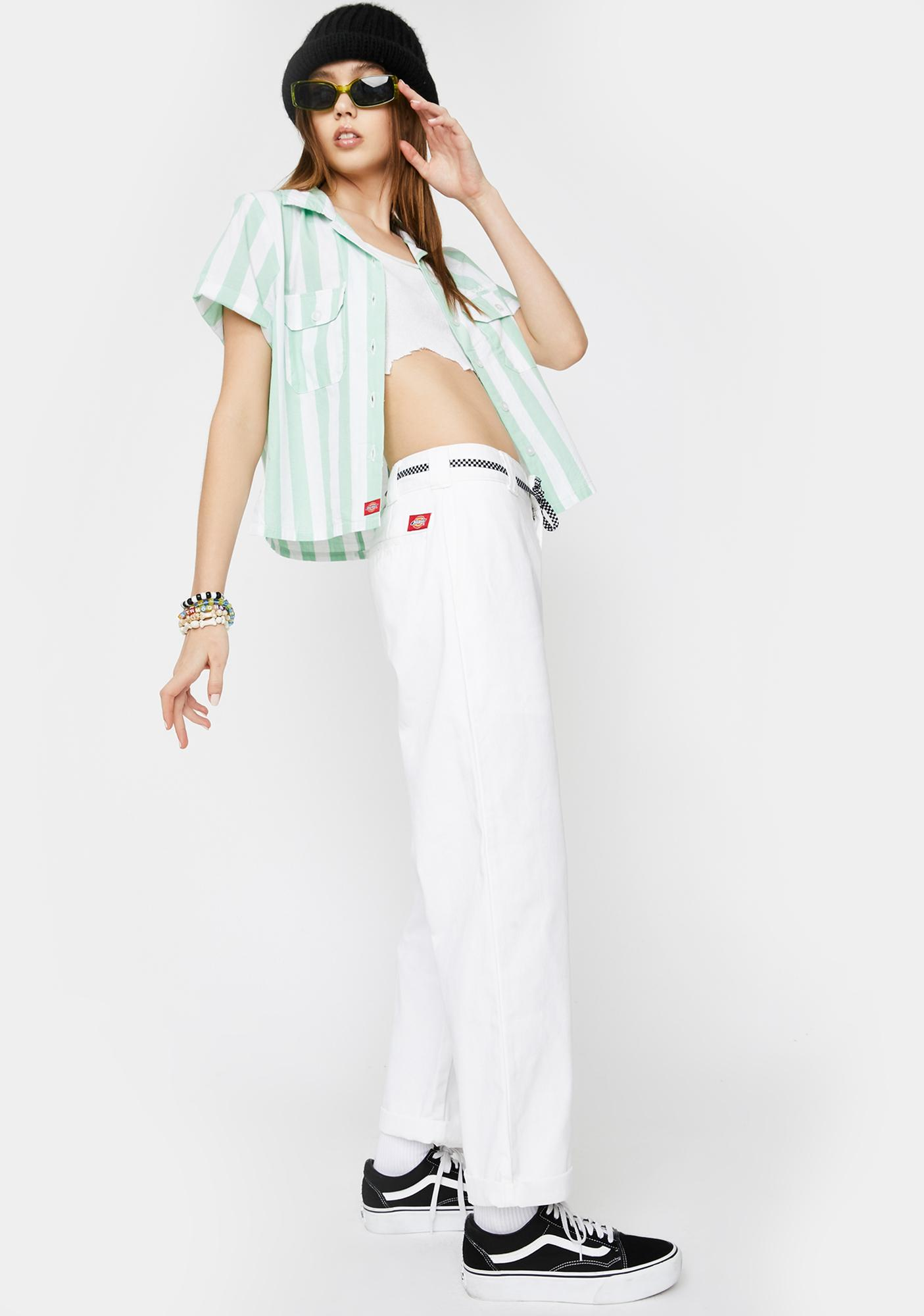 Dickies Girl White Rolled Hem Crop Work Pants
