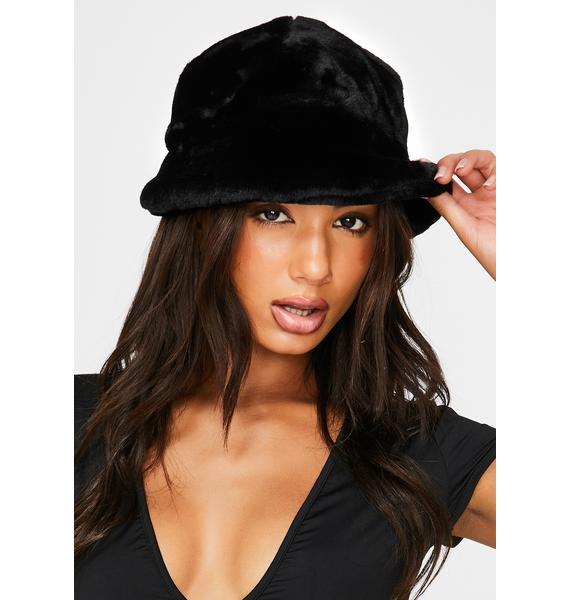 My Mum Made It Black Faux Fur Bucket Hat