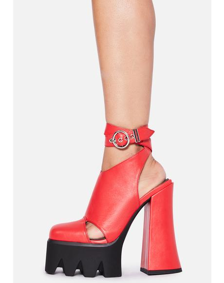 Crimson Destined Disaster Wrap Heels