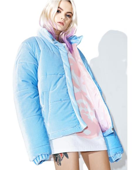 Baby Blue Velvet Puffa Jacket