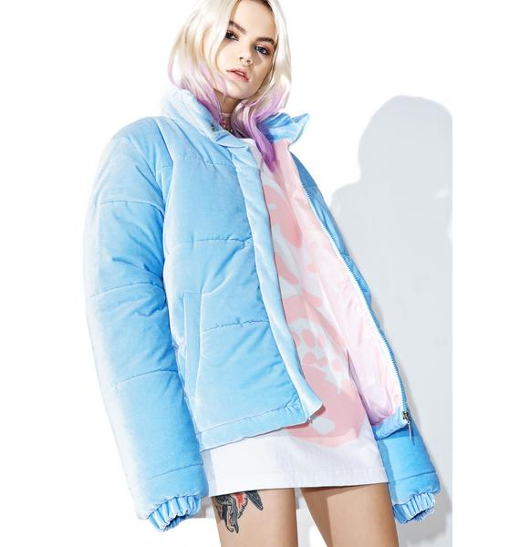 Local Heroes Baby Blue Velvet Puffa Jacket
