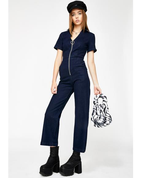 Lazy Hearts Denim Jumpsuit