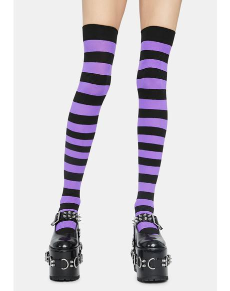 Violet Make U Pay Striped Thigh Highs