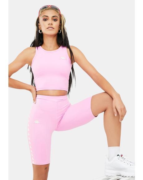 Pink White 222 Banda Cicles Biker Shorts