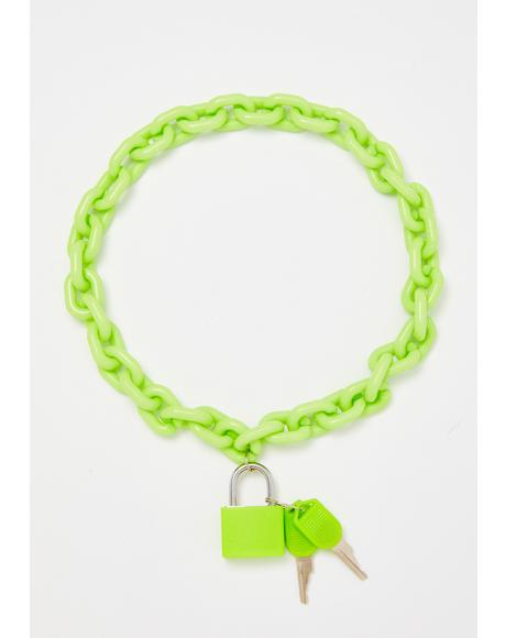 Neon Lock Shock Chain Necklace