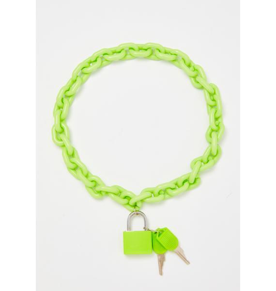 Neon Lock Shock Chain Necklace