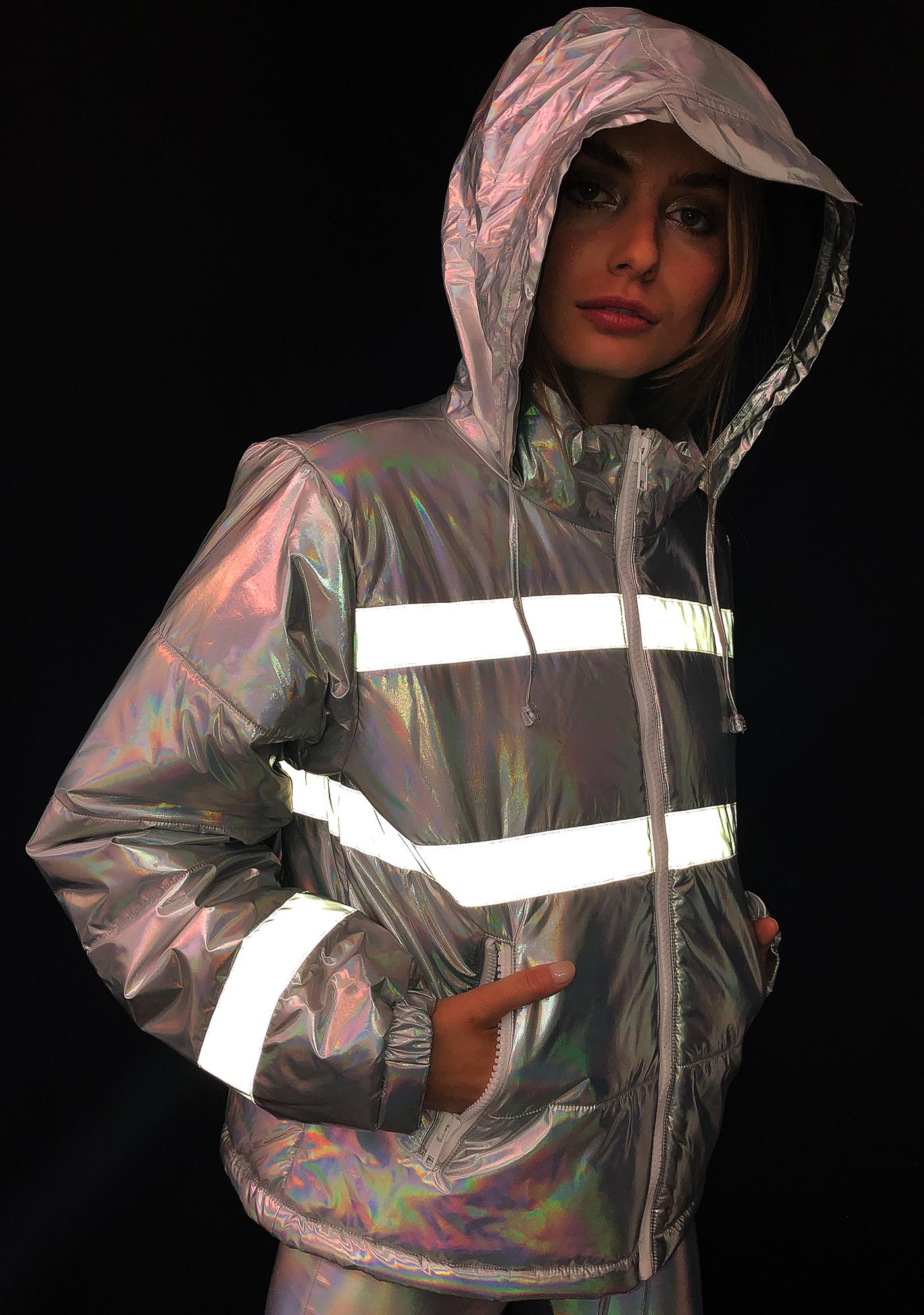 Club Exx Northern Soul Reflective Puffer Jacket Dolls Kill