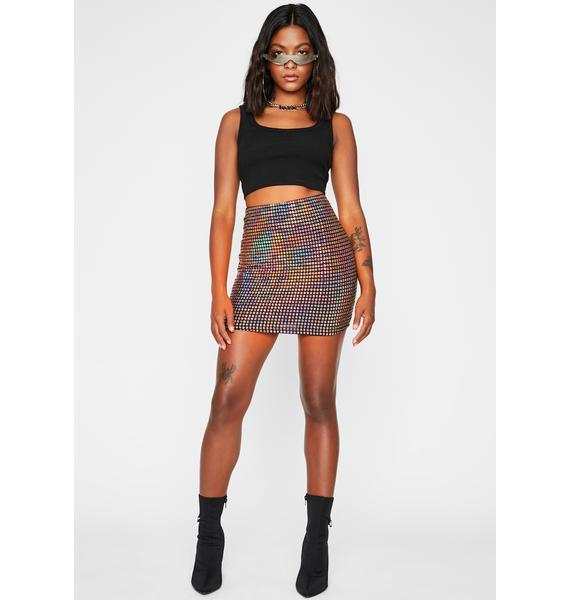 Gilded Aquatic Rainbow Holographic Mini Skirt