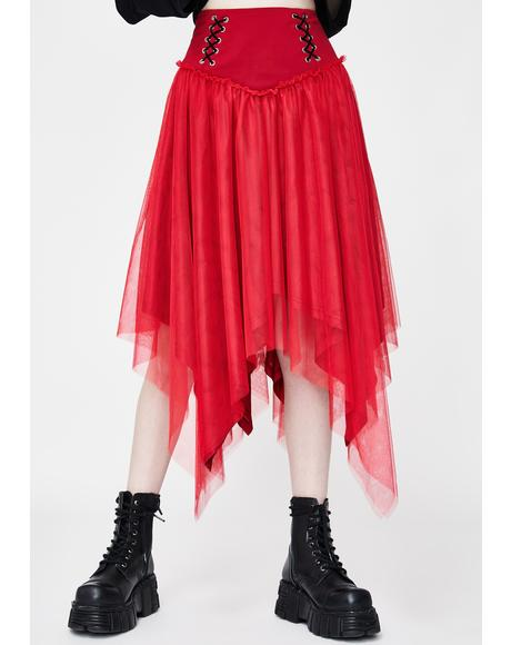 Red Lace Up Tulle Midi Skirt