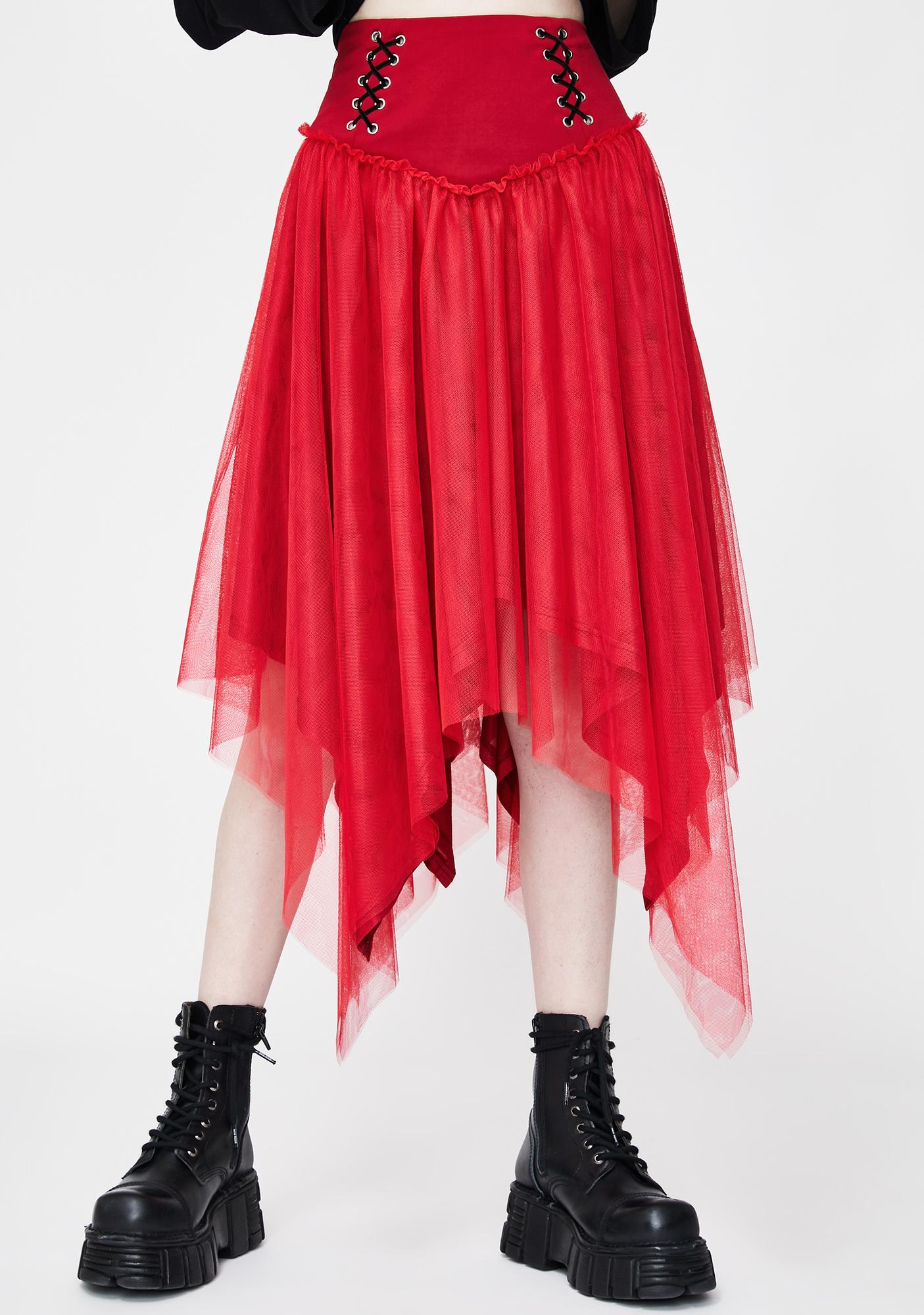 Punk Rave Red Lace Up Tulle Midi Skirt