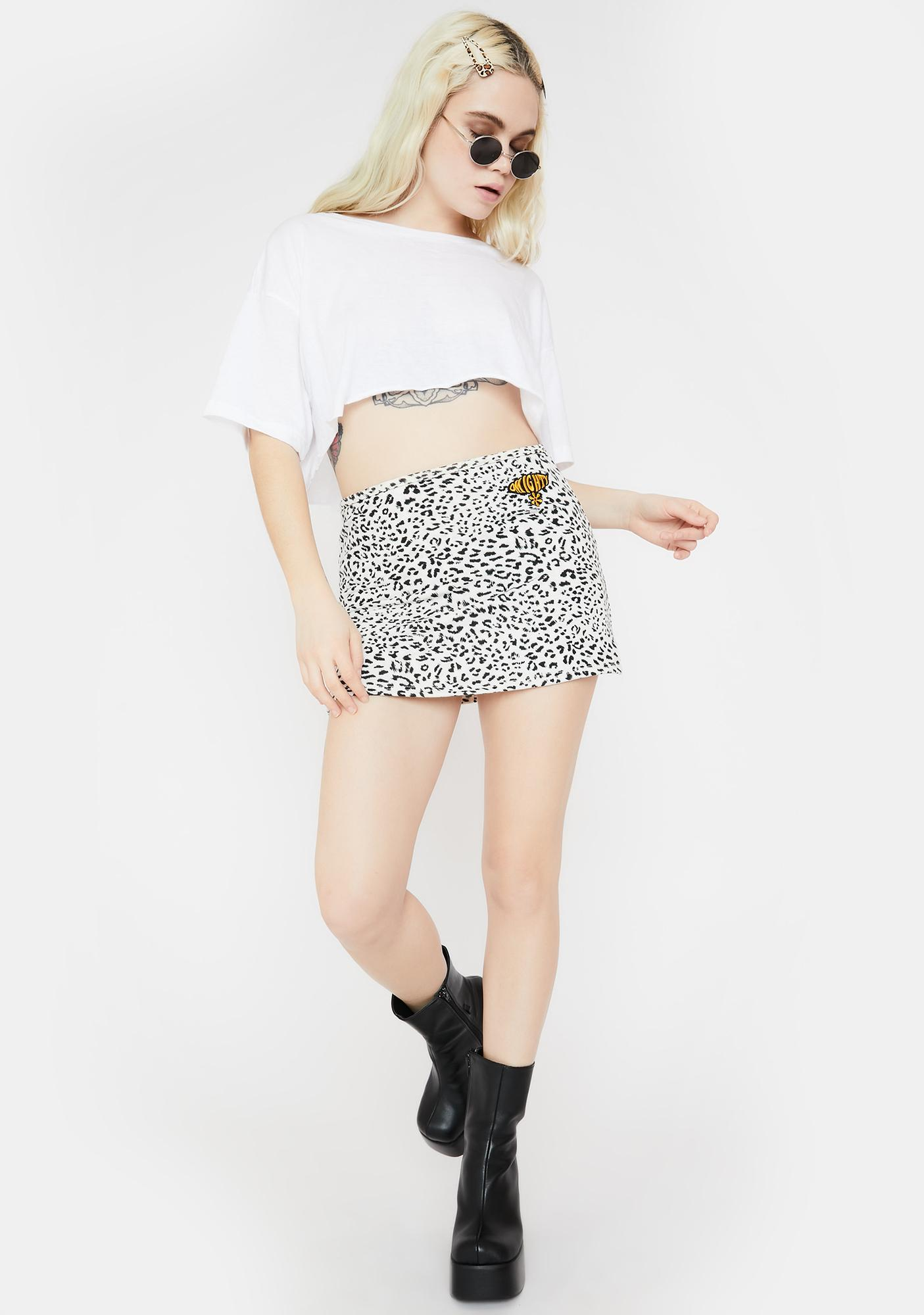 O Mighty Low Waist Leopard Mini Skirt