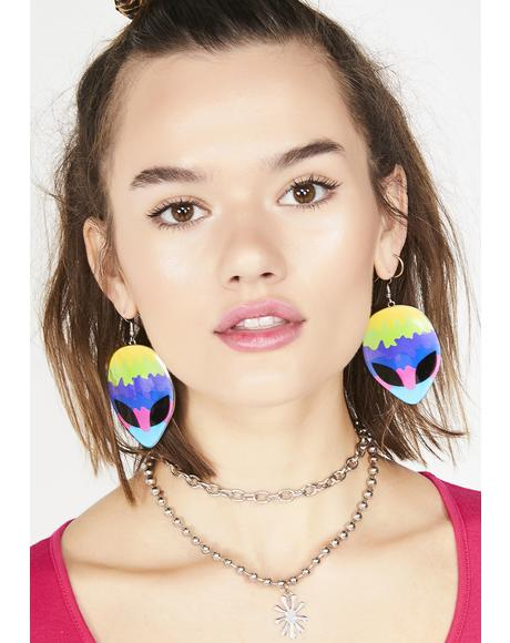 Freaky Come In Peace Alien Earrings