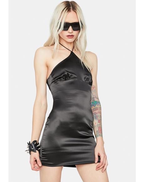 Night Life Satin Halter Bodycon Dress