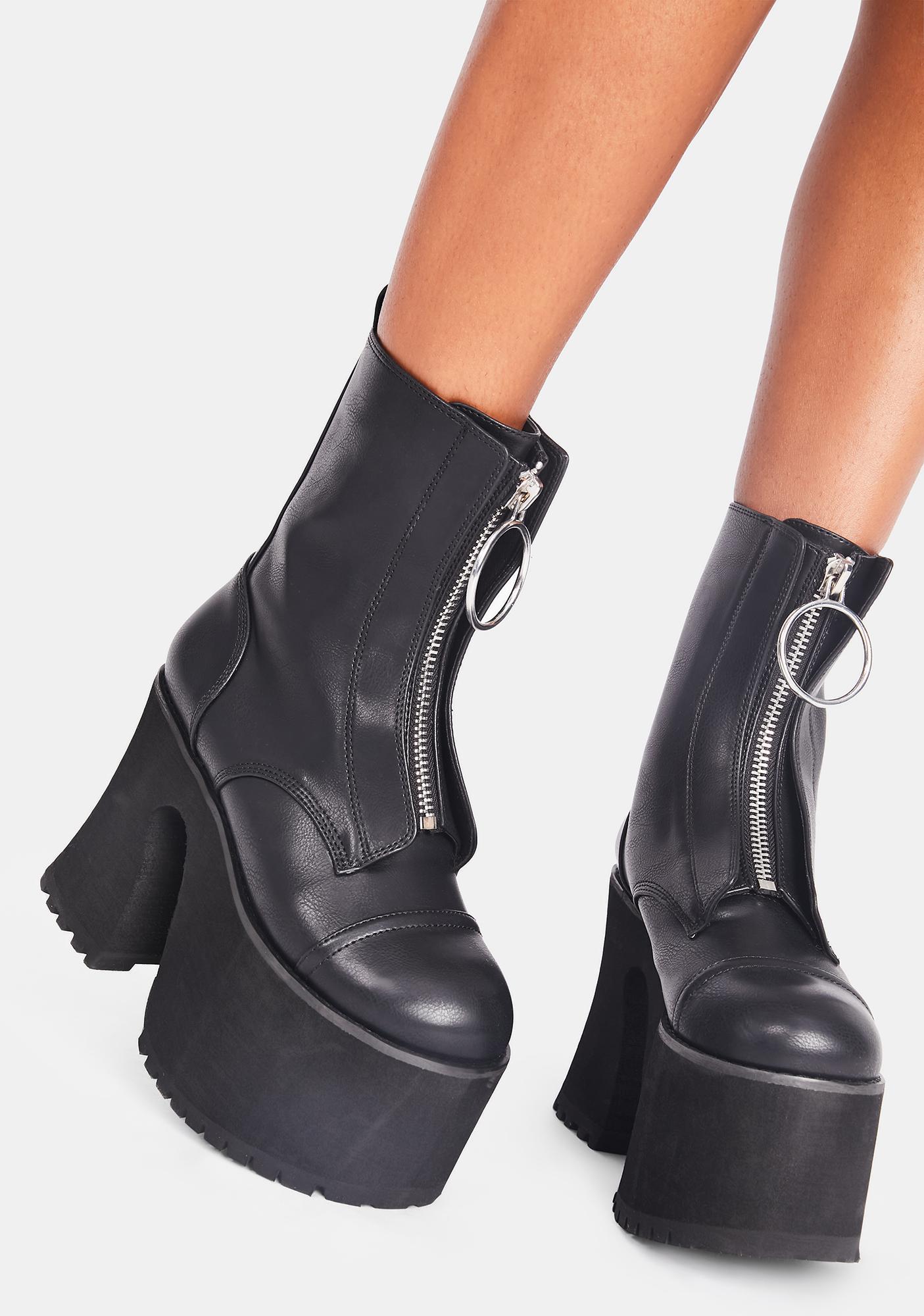 Platform Boots - Black Vegan Leather