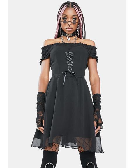 Gloomy Innocence Off The Shoulder Dress
