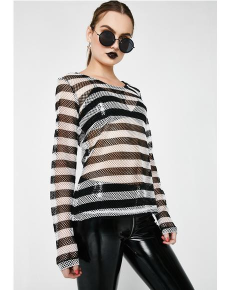 Long Sleeve Striped Mesh Top