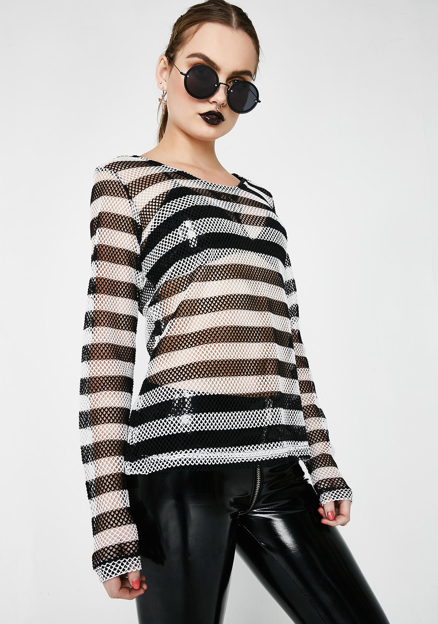 Tripp NYC Long Sleeve Striped Mesh Top