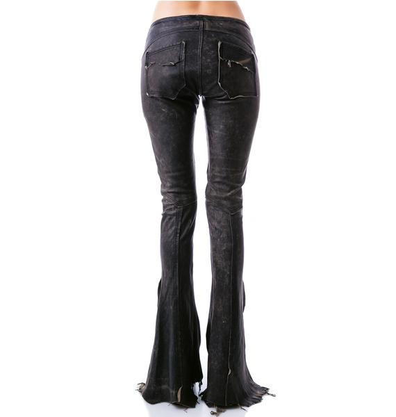Lip Service Leather Road Warrior Lace Up Flare Pants