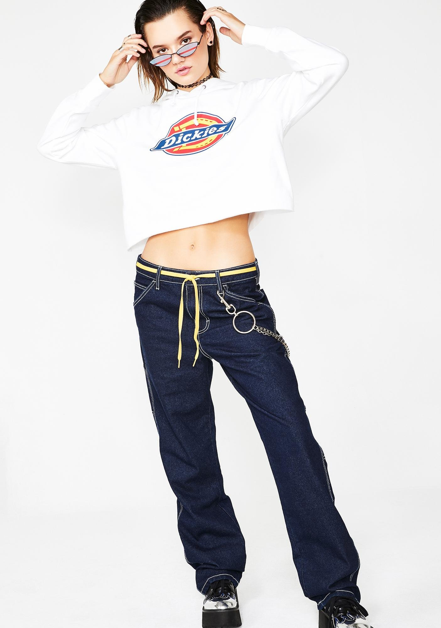 Dickies Girl Icy Icon Logo Cropped Hoodie