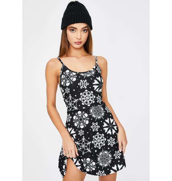 Too Fast Skull Snowflake Sweater Dress