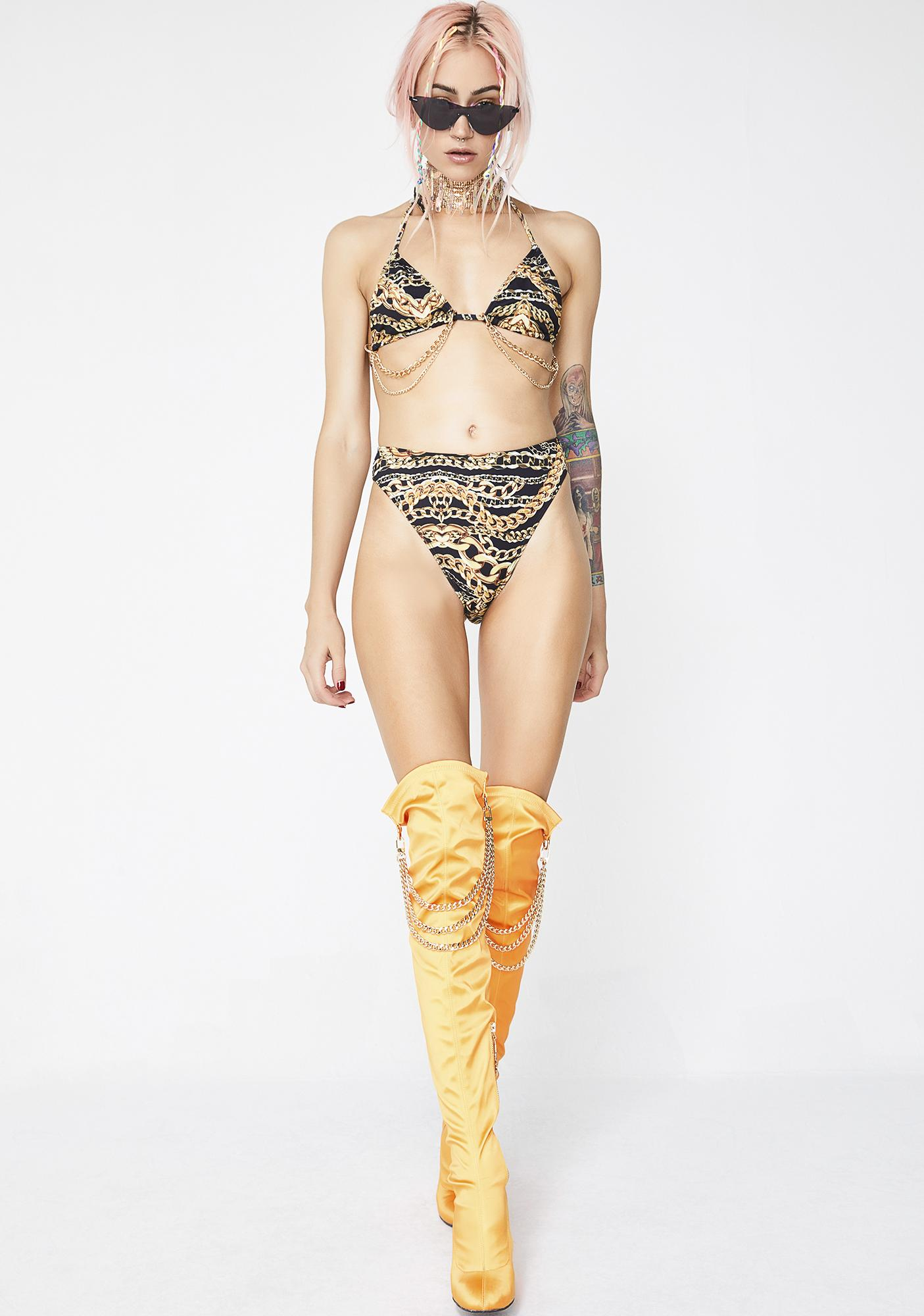 Jaded London Gold Member High Cut Bikini Bottoms