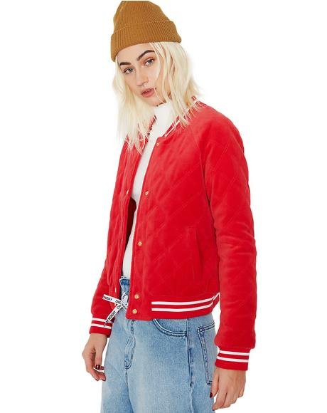 Track Velour Solid Quilted Bomber Jacket