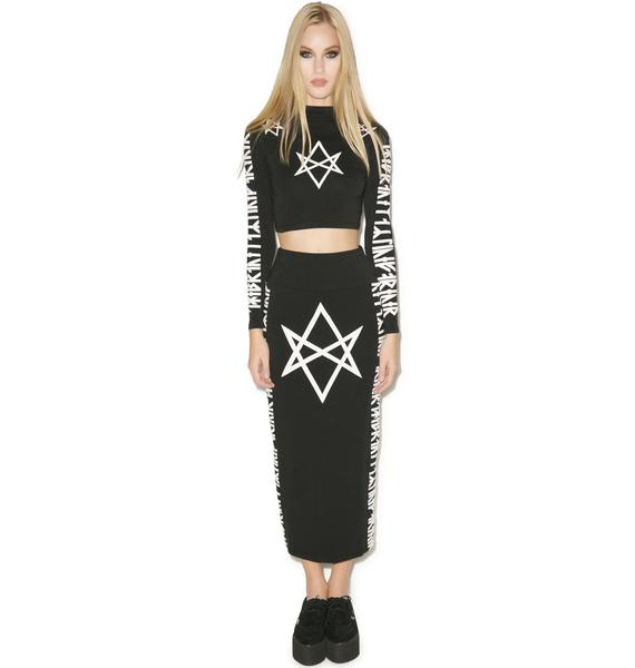 Long Clothing Hexagram Long Sleeve Crop Top