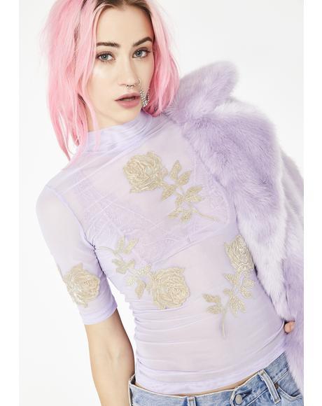 Lavender Mesh Top