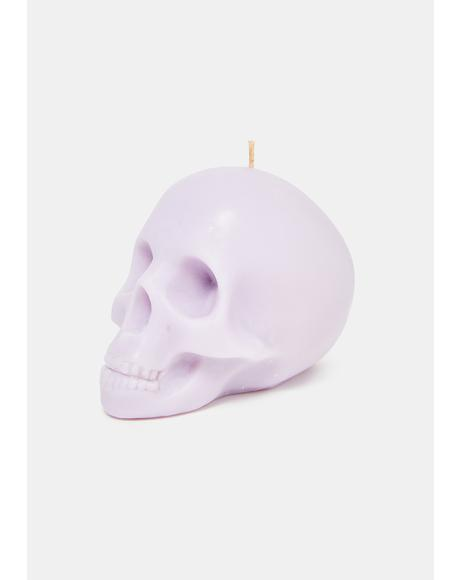 Lilac Medium Skull Candle