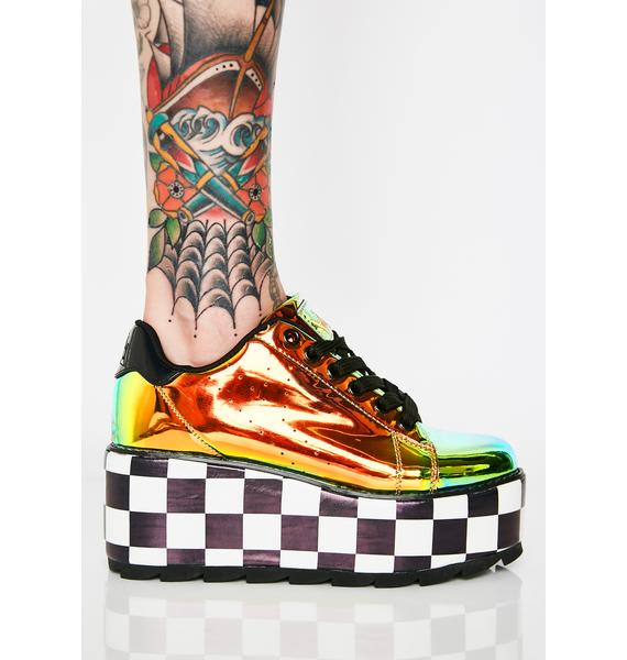 Y.R.U. Lala Checker Platform Sneakers