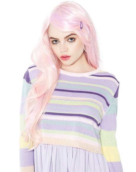 Powder Pink Wavy Wig