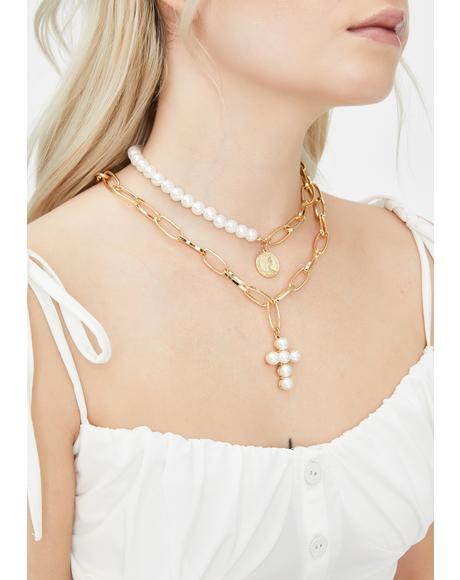 Saintly Sacrifices Pearl Necklace