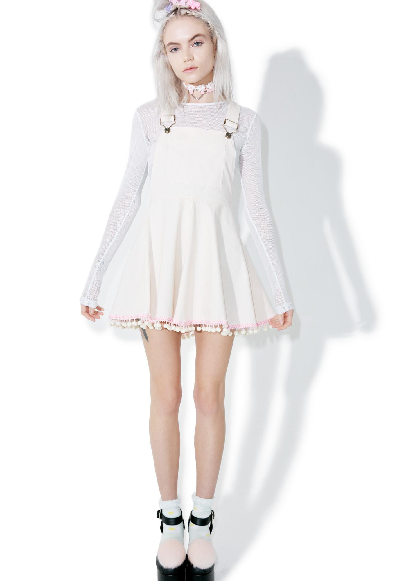 Pom-Puff Overall Dress