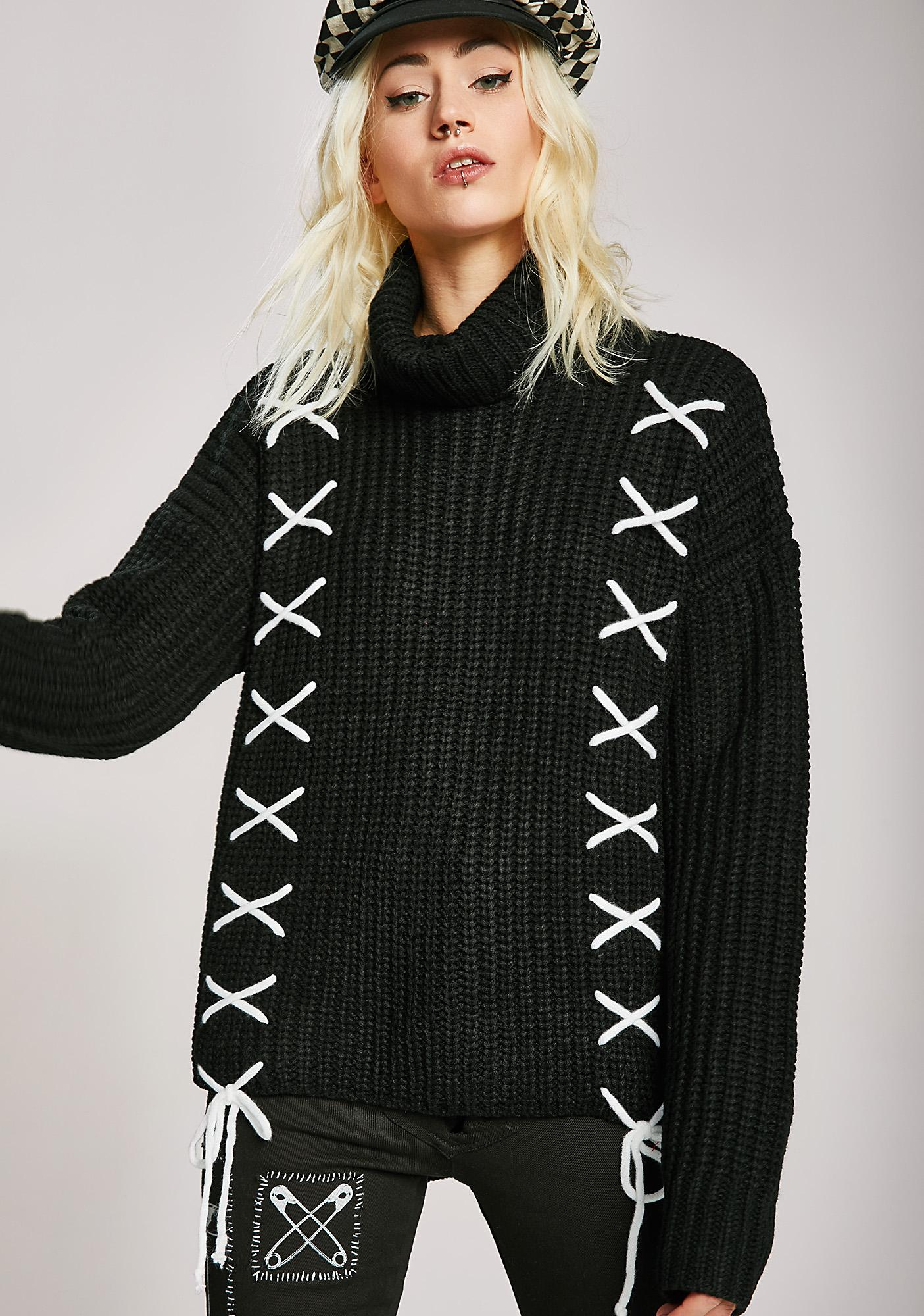 Double Or Nothin' Lace-Up Sweater