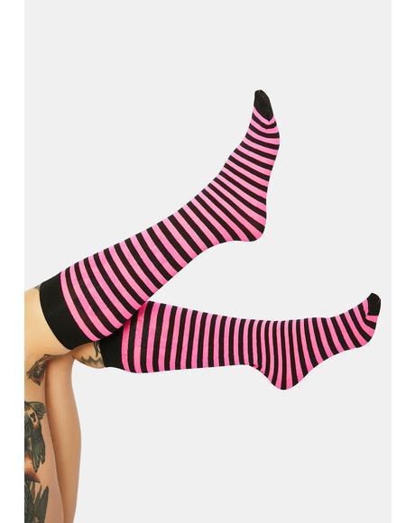 On The Scene Striped Knee High Socks