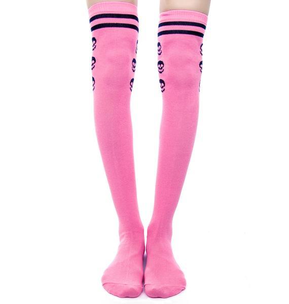 Sourpuss Clothing Varsity Skull Over The Knee Socks