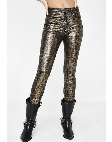 Gold Snake Skinny Jeans