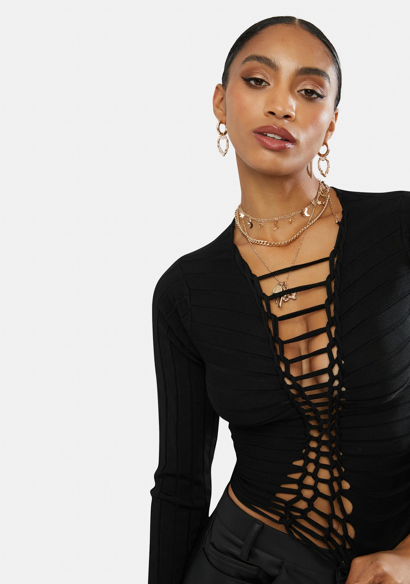 Trouble's Coming Lace Up Crop Top