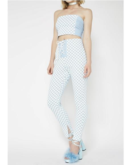 Lace-Up Denim Checkered High Waisted Pants