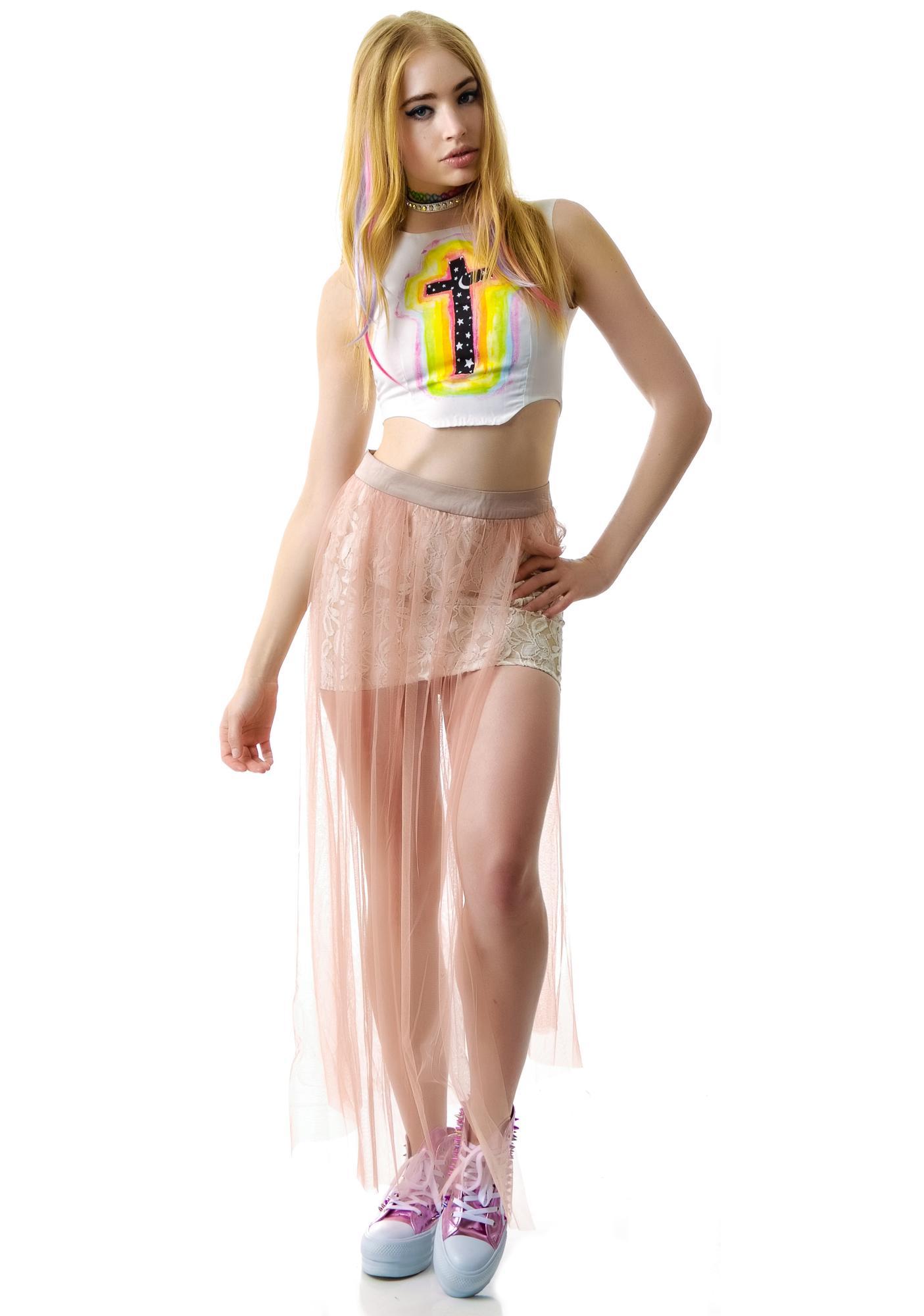 Pretty Princess Asymmetrical Lace Skirt