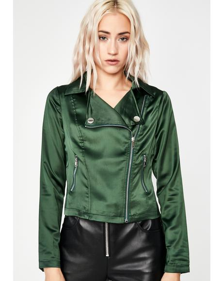 Endless Envy Satin Moto Jacket