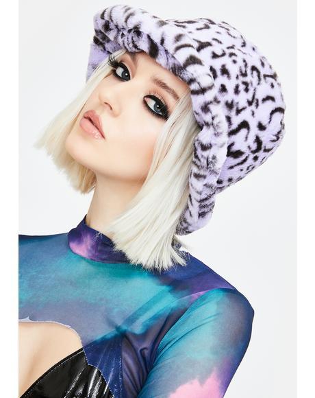 Lilac Leopard Fuzzy Bucket Hat